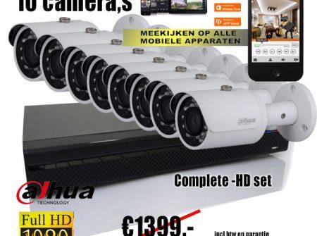 complete 10 camera hdcvi set. Unieke aanbieding en slechts 1`exemplaar op voorraad.