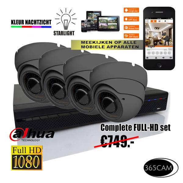 antraciet kleur bewakingscamera set
