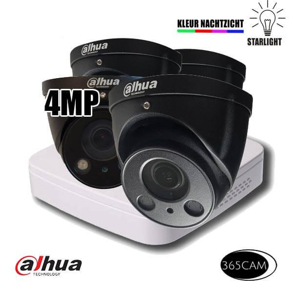 4MP bewakingscamera set zwart