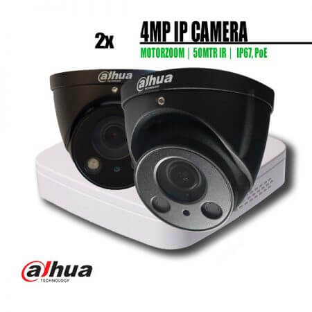 4MP zwarte camera set